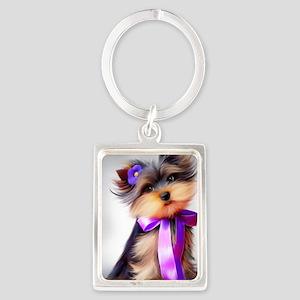 ByCatiaCho Yorkie Violet Portrait Keychain
