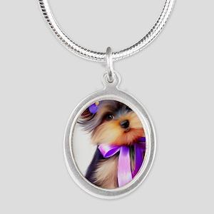 ByCatiaCho Yorkie Violet Silver Oval Necklace