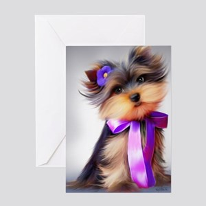 ByCatiaCho Yorkie Violet Greeting Card