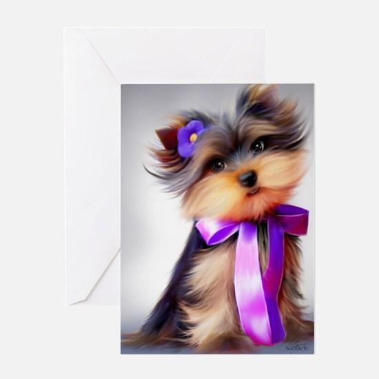 ByCatiaCho Yorkie Violet Greeting Card