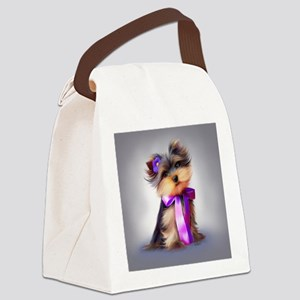 ByCatiaCho Yorkie Violet Canvas Lunch Bag