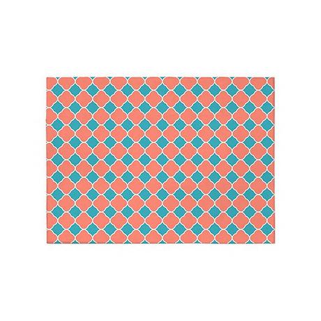 Coral Teal Blue Quatrefoil 5'x7'Area Rug by printcreekstudio
