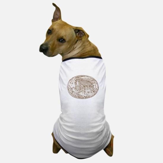 Log Cabin Farm House Oval Etching Dog T-Shirt