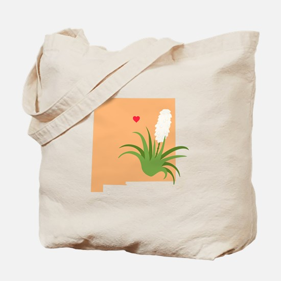 New Mexico State Outline Yucca Flower Tote Bag