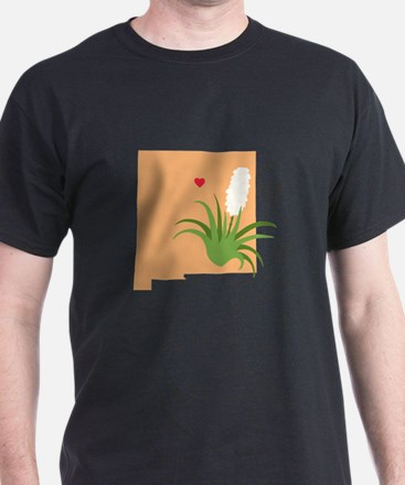 New Mexico State Outline Yucca Flower T-Shirt
