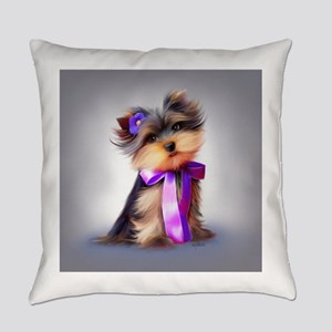 ByCatiaCho Yorkie Violet Everyday Pillow