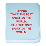 tennis joke baby blanket