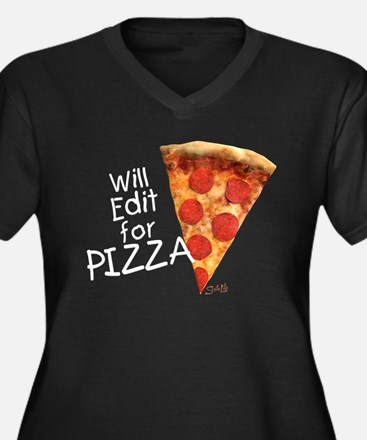 Will Edit For Pizza - V-Neck Plus Size T-Shirt