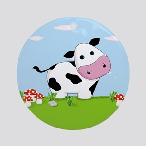 Cow in a Field Ornament (Round)
