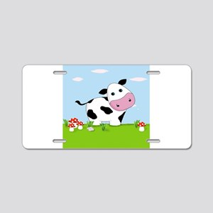 Cow in a Field Aluminum License Plate