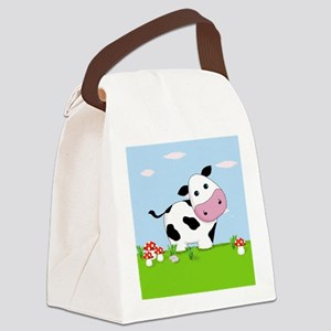 Cow in a Field Canvas Lunch Bag