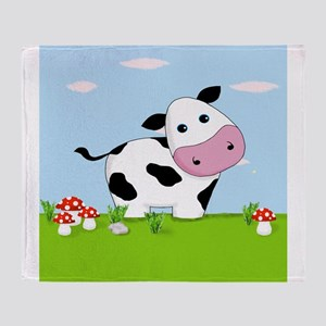 Cow in a Field Throw Blanket