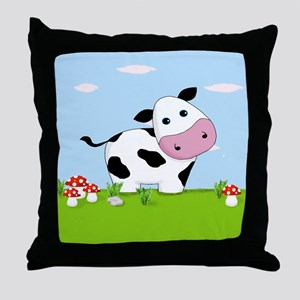 Cow in a Field Throw Pillow