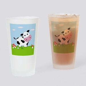 Cow in a Field Drinking Glass