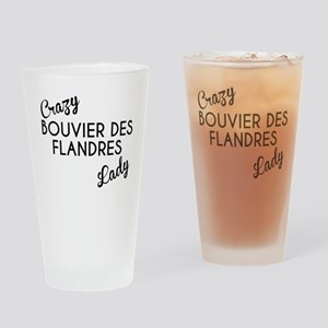 Crazy Bouvier des Flandres Lady Drinking Glass