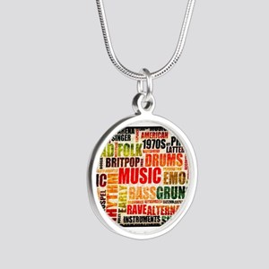 Music Themed Silver Round Necklace