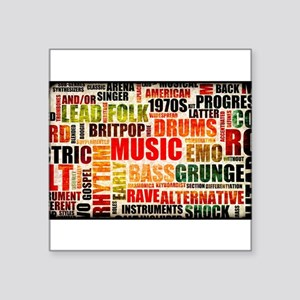 "Music Themed Square Sticker 3"" x 3"""