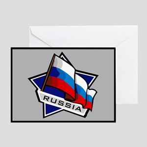 """Russia Star Flag"" Greeting Card"