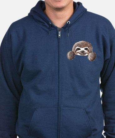 KiniArt Pocket Sloth Zip Hoodie (dark)