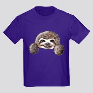 KiniArt Pocket Sloth Kids Dark T-Shirt
