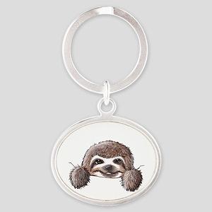 KiniArt Pocket Sloth Oval Keychain