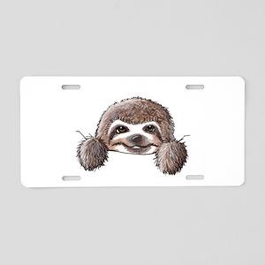 KiniArt Pocket Sloth Aluminum License Plate
