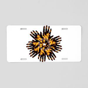 Blazing Hand Starburst Aluminum License Plate