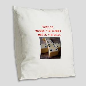 dominoes joke Burlap Throw Pillow