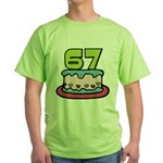 67 Year Old Birthday Cake Green T-Shirt