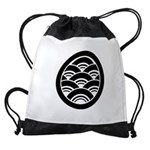 Overlapping waves in circle Drawstring Bag