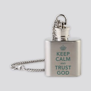 Keep Calm and Trust God Flask Necklace