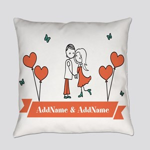 Personalized Names Couple Hearts Everyday Pillow