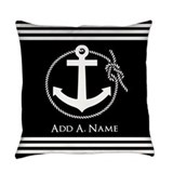 18 inch black nautical anchor Everyday Pillow