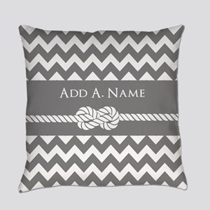 Gray Chevron and Rope Personalized Everyday Pillow