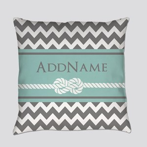 Gray Mint Chevron Rope Personalized Everyday Pillo