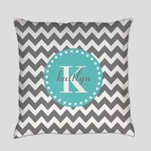 Gray and Turquoise Chevron Custom Monogram Everyda