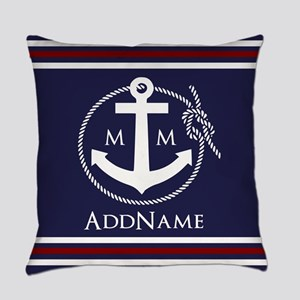 Navy Nautical Rope and Anchor Monogram Everyday Pi