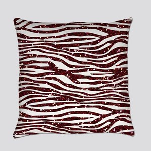 Red Faux Glitter Zebra Everyday Pillow