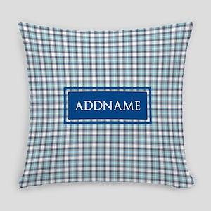 Tartan Pattern Monogram Everyday Pillow