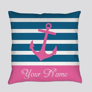 Pink Anchor On Stripe - Personalized Everyday Pill