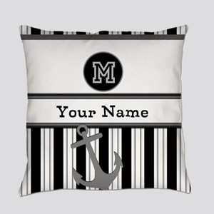 Black and White Stripe Monogram Everyday Pillow