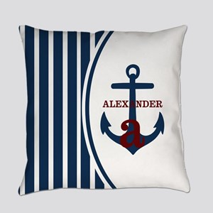 Anchor and Stripes Monogram Everyday Pillow