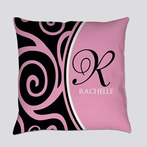 Elegant Black Pink Swirls Monogram Everyday Pillow