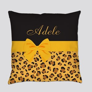 Yellow Bow Animal Print Pattern Everyday Pillow