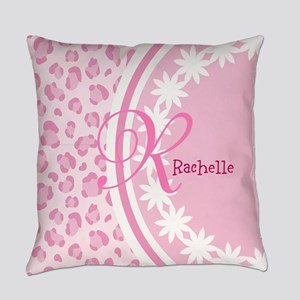 Stylish Pink and White Monogram Everyday Pillow