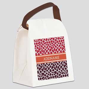 Personalized Two Tone Giraffe Ani Canvas Lunch Bag