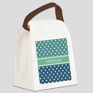 Mint and Blue Ringed Stars Person Canvas Lunch Bag