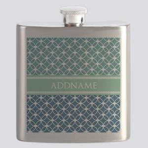 Mint and Blue Ringed Stars Personalized Flask