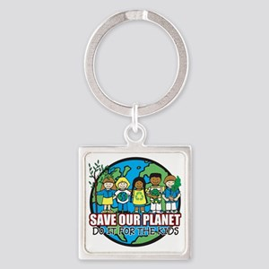 Save Our Planet Square Keychain