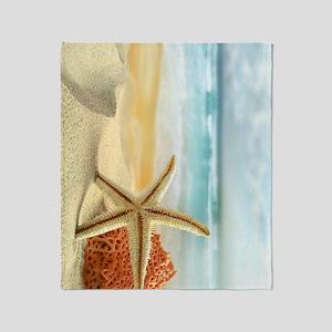 Starfish on Beach Throw Blanket